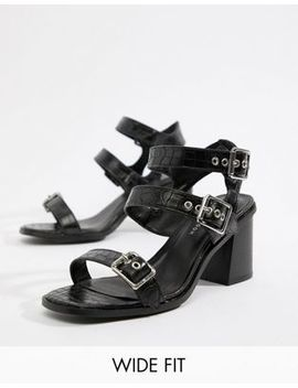 new-look-wide-fit-croc-multi-strap-heeled-sandal by new-look