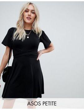 Asos Design Petite Flutter Sleeve Wrap Waist Tea Dress by Asos Design