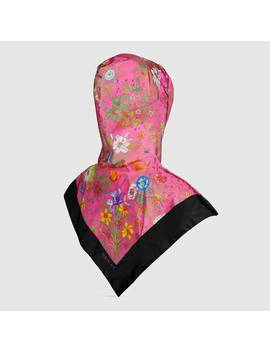 Nylon Hood With Flora Print by Gucci