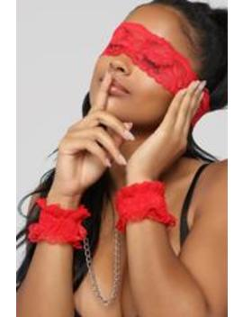 Love Is Blind Blindfold Set   Red by Fashion Nova