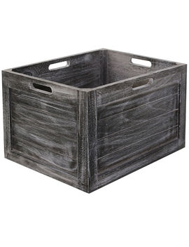 Wood Crate Rect Grey S by At Home