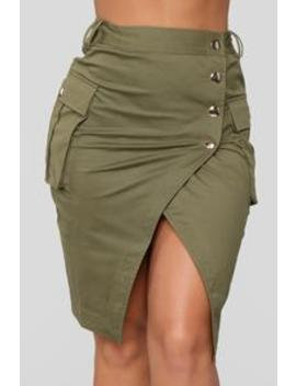 Charlize Cargo Skirt   Olive by Fashion Nova