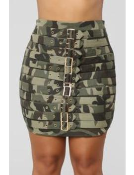 Ring The Alarm Skirt   Army by Fashion Nova