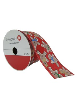 "2.5"" Taffeta Wired Gingerbread Man Ribbon By Celebrate It™ Christmas by Celebrate It"
