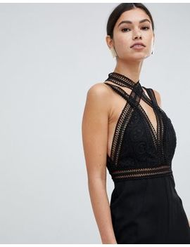 Love Triangle Multi Strap Jumpsuit With Contrast Lace Cross Front In Black by Love Triangle