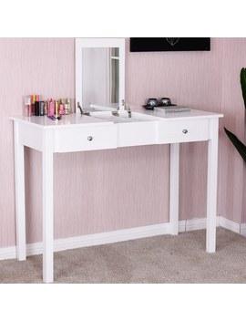 Costway Vanity Table Dressing Table Flip Top Desk Mirror 2 Drawers Furniture White by Generic