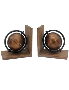 5 X8 Mtl Indstrl Globe Bookend by At Home