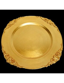 Quasimoon Gold Heavy Duty Charger Plate With Medieval Trim (13 Inch) By Paper Lantern Store by Quasimoon