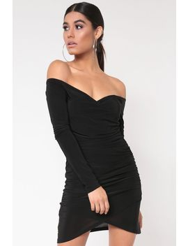 Black Off The Shoulder Ruched Dress by I Saw It First