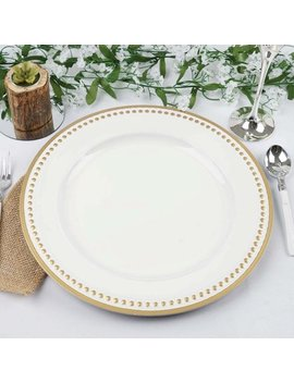 """Efavormart 13"""" Round Rim Crystal Beaded White Charger Plates Dinner Servers Dinner Chargers For Tabletop Decor   Set Of 6 by E Favormart"""