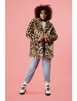 Plus Size Faux Fur Leopard Print Coat by Forever 21