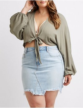 Plus Size Bell Sleeve Cropped Top by Charlotte Russe