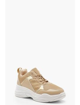 Chunky Fleck Lace Trainers by Boohoo