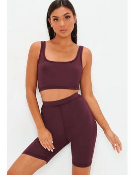 Purple Scoop Neck Cotton Bralet by Missguided
