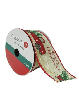 """2.5"""" Faux Linen Wired Cars Christmas Ribbon By Celebrate It™ by Celebrate It"""