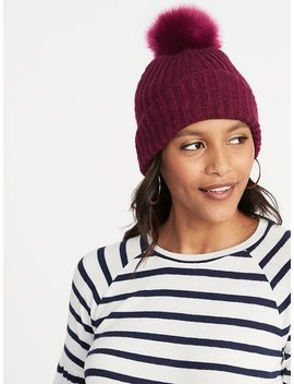 Rib Knit Pom Pom Beanie For Women by Old Navy