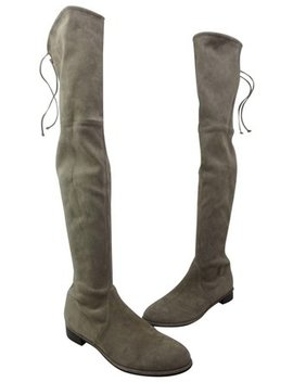 Topo Grey Lowland Over The Knee Suede Boots/Booties by Stuart Weitzman