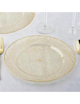 """12 Pk 9"""" Shiny Gold Dust Disposable Round Luncheon Appetizer Plates Kitchen by Tableclothsfactory"""