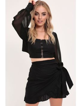 Black Eyelet Detail Tie Back Crop Top by I Saw It First