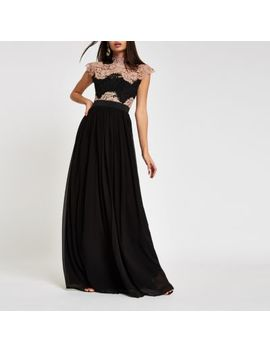 Forever Unique Black Lace Maxi Dress by River Island