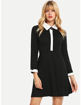 Contrast Neckline Dress by Romwe
