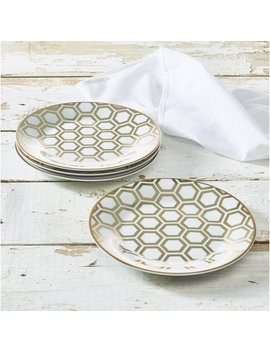 """7.5"""" Beehive Collection Porcelain Side Plate 4 Pack, Walmart Exclusive by Walmart"""