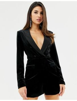 Lavish Alice Velvet Tuxedo Romper With Contrast Satin Lapel In Black by Lavish Alice