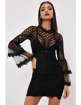 Black Black Lace Mini Dress With Flare Sleeves by I Saw It First
