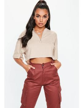 Sand Zip Front Boxy Crop Top by Missguided