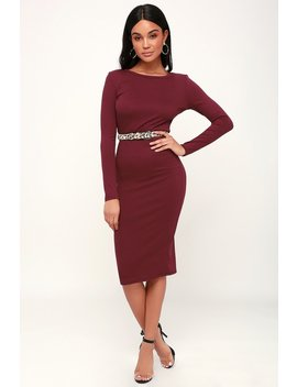 Connelly Burgundy Ribbed Long Sleeve Bodycon Midi Dress by Lulus