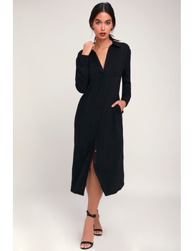 Everyday Chic Black Long Sleeve Midi Shirt Dress by Lulus