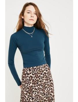 Uo Sassy Teal Funnel Neck Top by Urban Outfitters