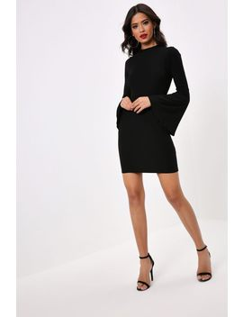 Black Turtle Neck Dress With Extreme Flare Sleeves by I Saw It First