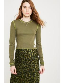 Uo Khaki Fluorescent Contrast Stitch Long Sleeve Top by Urban Outfitters