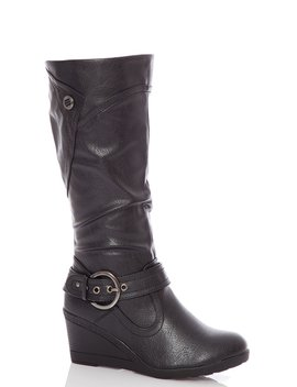 Black Buckle Wedge Calf Boot by Quiz