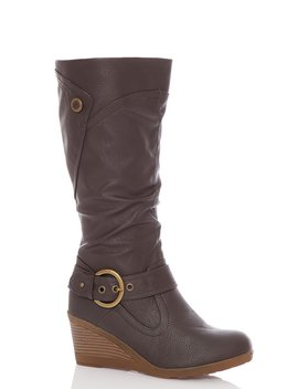 Brown Buckle Wedge Calf Boot by Quiz