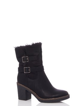 Black Faux Fur Fold Over Ankle Boots by Quiz