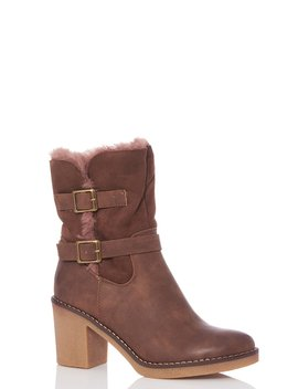 Tan Faux Fur Fold Over Ankle Boots by Quiz