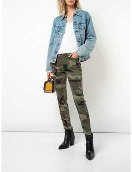 Camouflage Print Cropped Trousers by Re/Done
