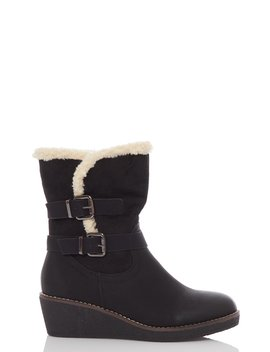 Black Faux Suede Wedge Calf Boots by Quiz