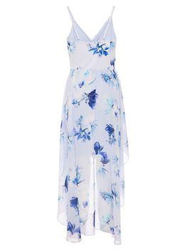 Quiz Pale Blue Floral Chiffon Dip Hem Dress by Quiz
