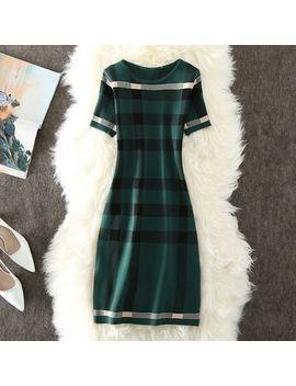 Gaeul   Plaid Short Sleeve Midi Knit Dress by Gaeul