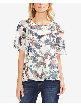Sheer Sleeve Printed Top by Vince Camuto