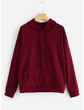 Drawstring Hooded Solid Sweatshirt by Romwe