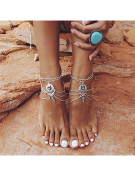 Boho Turquoise Barefoot Sandal Beach Anklet Foot Chain Jewelry Ankle Bracelet by Unbranded