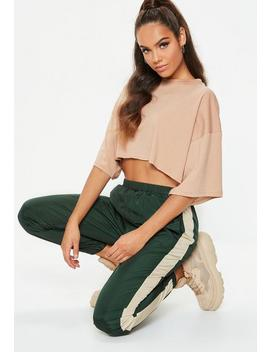 Forest Green Contrast Side Panel Joggers by Missguided