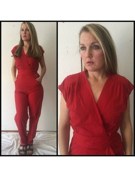 Vintage 90s Red Jumpsuit, 1990s Pant Suit, Small, Medium, One Piece Suit, Women, Disco, Skating Rink by Etsy