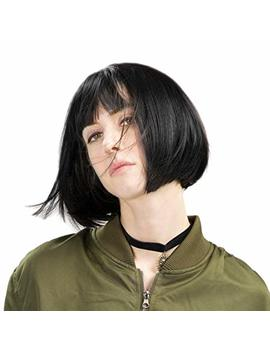 "Reecho Short Bob Wig With Bangs 11"" Synthetic Hair For White Black Women Color: Black by Reecho"
