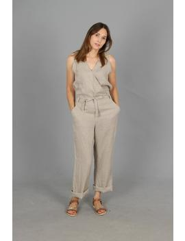 Deep Pockets Wrap Linen Jumpsuit/Soft Washed Long Linen Overall/Linen Romper/Linen Jumper Mod. Veronica by Etsy
