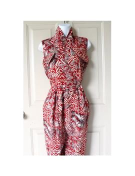 Vintage 80s Jumpsuit ǀ Red Jumpsuit ǀ Short Sleeve Jumpsuit ǀ Tribal Pattern ǀ Tropical Jumpsuit ǀ Size 10 ǀ Medium by Etsy